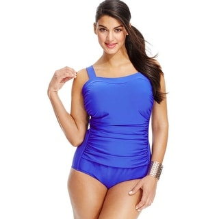 INC International Concepts Plus Size Womens Ruched One-Piece Swimsuit Blue 16W