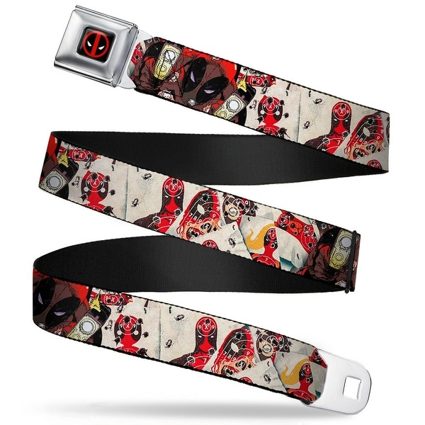 Marvel Universe Deadpool Logo Full Color Black Red White Deadpool Shooting Seatbelt Belt