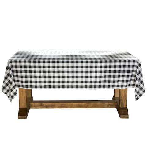 "60 x 102"" Rectangular Black & White Gingham Checkered Tablecloth"