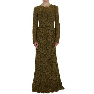 Dolce & Gabbana Olive Green Floral Lace Ricamo Maxi Dress - it40-s