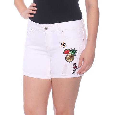 INDIGO REIN Womens White Embellished Printed Short Juniors Size: 7