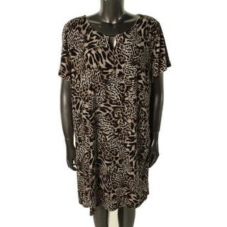 Calvin Klein Womens Plus Matte Jersey Animal Print Wear to Work Dress - 3X