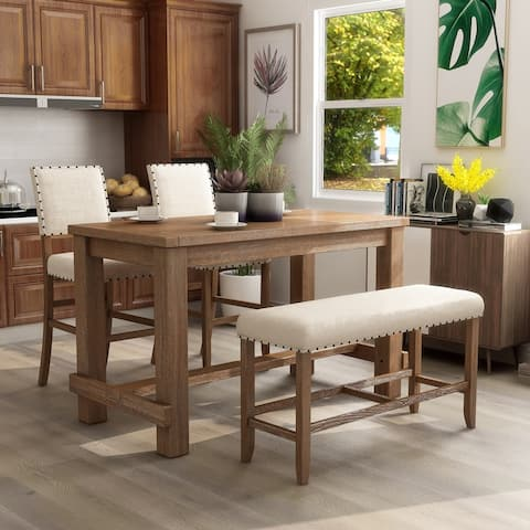 Furniture of America Tays Rustic Brown Counter Height Dining Set
