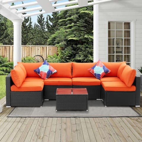 Ainfox Rattan 7-piece Outdoor Patio Sofa Sectional