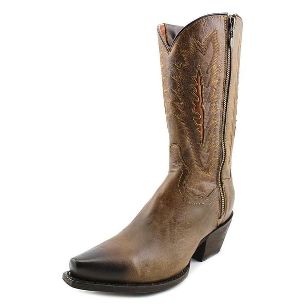 "Dan Post Trish Side Zip 11"" Women Pointed Toe Leather Brown Western Boot"