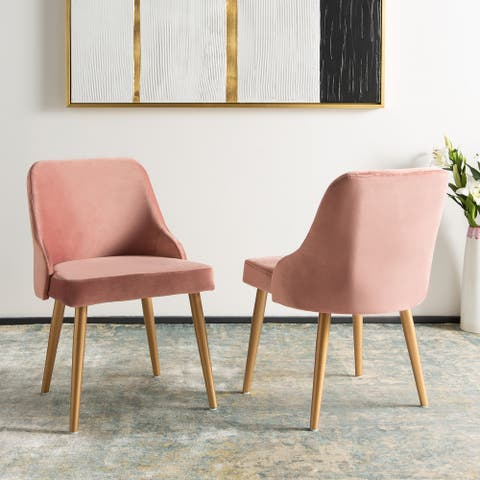 """SAFAVIEH 18.3"""" Lulu Upholstered Dining Chair - Dusty Rose / Gold (Set of 2) - 21"""" x 22"""" x 31"""""""