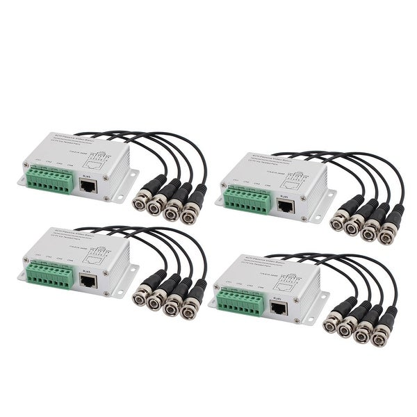 Aluminium Alloy 4CH Passive BNC to RJ45 UTP CCTV Video Balun Transceiver 4Pcs
