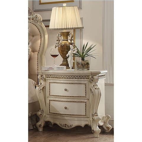 Vintage Style Nightstand with 2 Drawers (Antique Pearl)