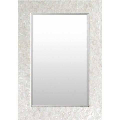 "40"" White and Gray Natural Stone Finish Rectangular Framed Wall Decor"