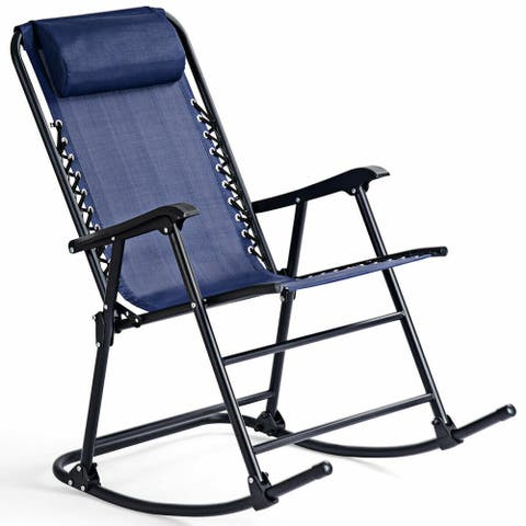Costway Folding Zero Gravity Rocking Chair Rocker Porch Outdoor Patio Headrest Blue