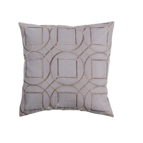 "18"" Gray and Bronze Linen Decorative Throw Pillow"