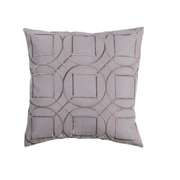 "22"" Gray and Bronze Linen Decorative Throw Pillow"