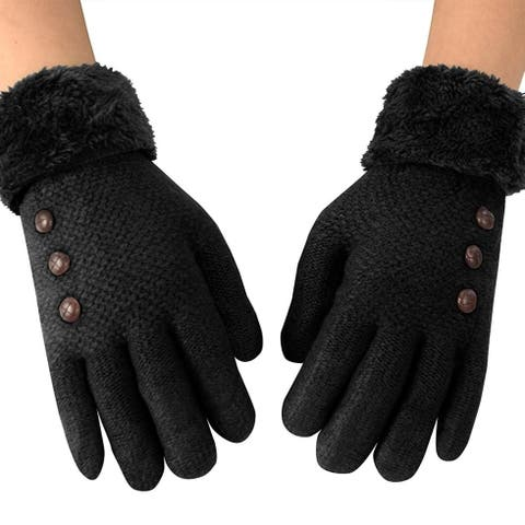 Double Layer Classic Cable Knit Plush Fleece Lined Winter Gloves