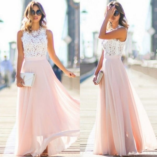 Beautiful Lace Stitching Chiffon Maxi Dress Dress Skirt. Opens flyout.