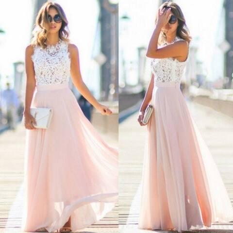 Beautiful Lace Stitching Chiffon Maxi Dress Dress Skirt