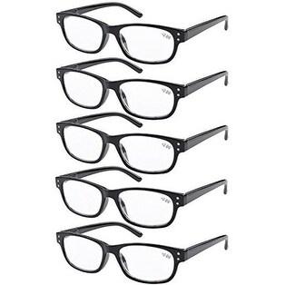 08098cdfea90 Eyekepper 5-pack Spring Hinges Vintage Reading Glasses Readers Black +0.50