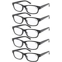 Eyekepper 5-pack Spring Hinges Vintage Reading Glasses Readers Black +3.50