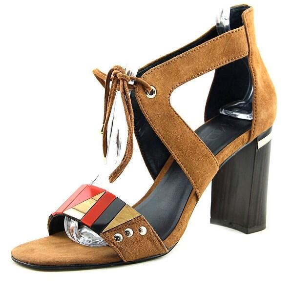 M4D3 Brazillian Women Open-Toe Suede Tan Heels