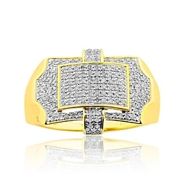 1/3cttw Diamond Mens Pinky Ring 10K Yellow Gold Extra Wide 14.5mm Pave Set