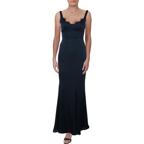 Fame And Partners Womens Ara Evening Dress Satin Lace Trim