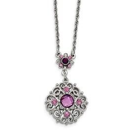 Silvertone Purple Epoxy & Glass Necklace - 16in