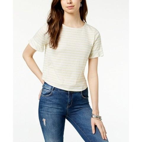 Lucky Brand Yellow Women's Size Small S Stripe Knit Top T-Shirt