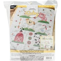"Farm Animals Crib Cover Stamped Cross Stitch Kit-34""X43"""