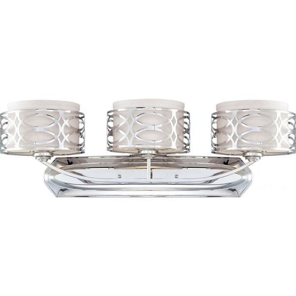 """Nuvo Lighting 60/4623 Harlow 3-Light 31"""" Wide Bathroom Vanity Light with Woven Fabric Shades and Metal Accents"""