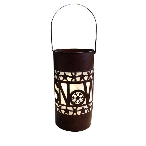 "15"" Shimmering LED Lighted ""Snow"" Battery Operated Christmas Lantern - brown"