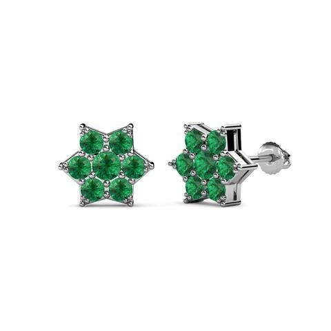 TriJewels Round Gemstone Womens Flower Earrings 14K Gold