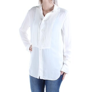 RALPH LAUREN $225 Womens New 1200 Ivory Pleated Collared Cuffed Blouse 6 B+B