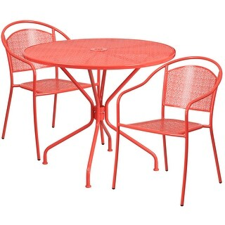 Westbury 3pcs Round 35.25'' Coral Steel Table w/2 Round Back Chairs