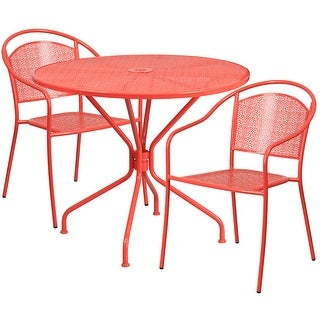Westbury 3pcs Round 35.25u0027u0027 Coral Steel Table W/2 Round Back Chairs
