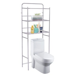 Costway 3-Tier Over The Toilet Space Saver Bathroom Storage Shelf Rack Organizer Chrome