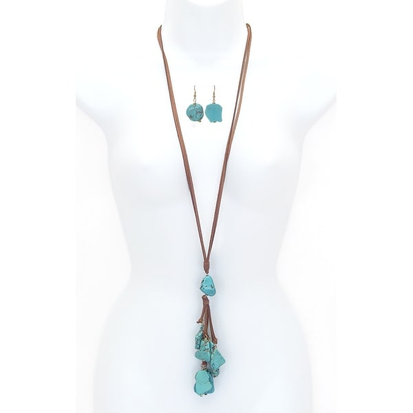 Multi Stone Drop Long Suede Chain Necklace Set
