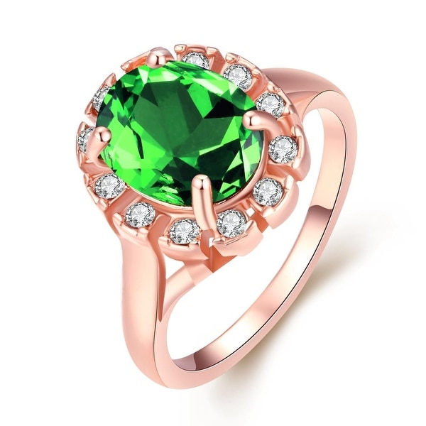 Rose Gold Emerald Green Stone Ring