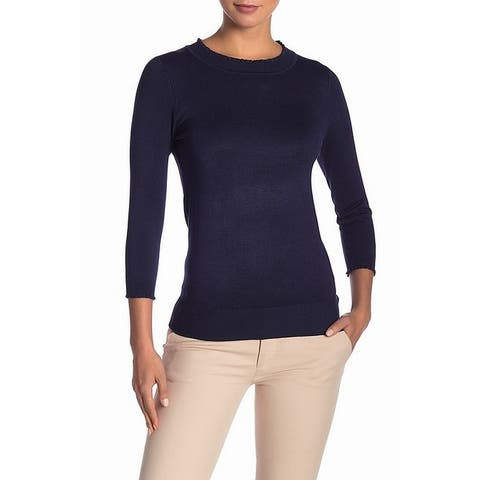 Max Studio Womens Sweater Navy Blue Size XS Mock-Turtleneck Ruffle Hem