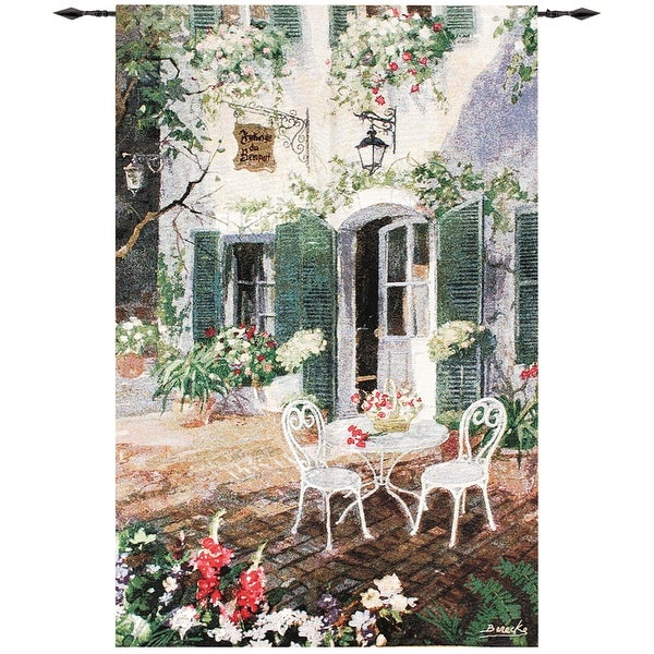 """French-Style Patio at the Inn Cotton Wall Art Hanging Tapestry 56"""" x 38"""" - N/A"""