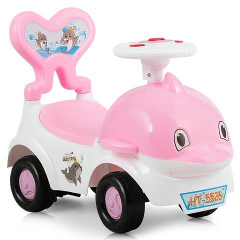 3-in-1 Baby Walker Sliding Car Pushing Cart Toddler Ride-Pink
