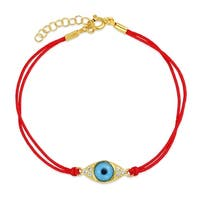Delicate Turkish Blue Evil Eye Red String Cord Bracelets For Teens CZ Cubic Zirconia Accent 14k Gold Plated 925 Silver