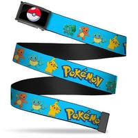 Poke Ball Fcg  Chrome Pokemon Kanto Starter Pokemon & Pikachu Blue Web Belt