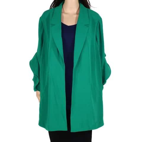 Alfani Womens Jacket Meadow Plus Ruffle Sleeve Flyaway