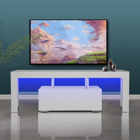 White Morden TV Stand with LED Lights,High Glossy Front TV Cabinet