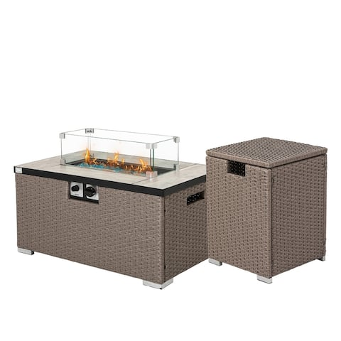 COSIEST Outdoor Rectangle Propane Fire Pit,Glass Wind Guard,Waterproof Cover,Tank Outside