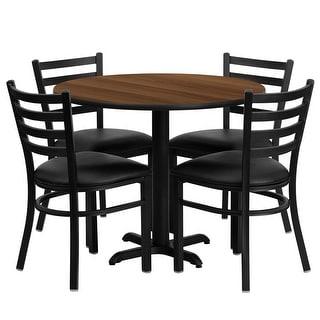 "Dyersburg 5pcs Table Set Round 36"" Walnut X-Base, Black Chair"