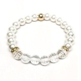 Pearl & Crystal 'Glow' stretch bracelet 14k Over Sterling Silver