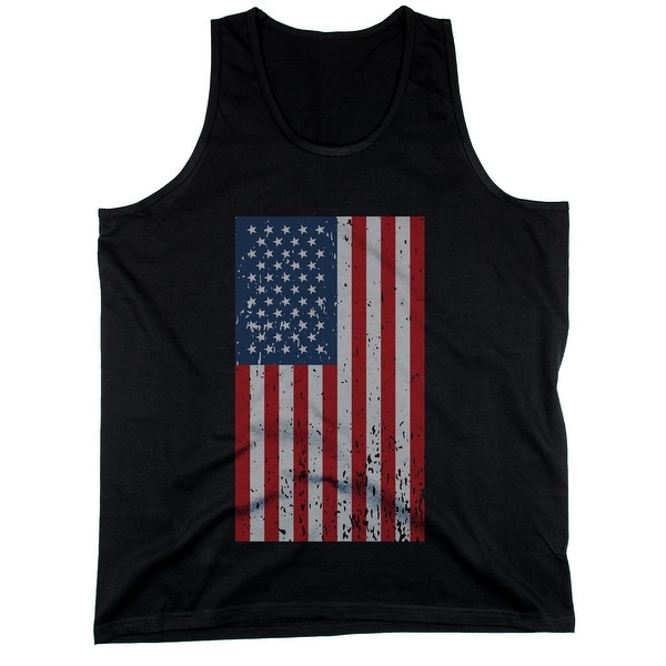 Distressed American Flag Men's Black Tank Tops for Independence Day