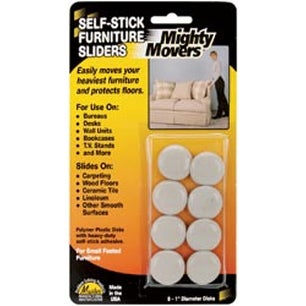 "1"" Round 8/Pkg - Mighty Movers Self-Stick Furniture Sliders"