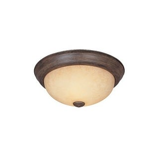 "Designers Fountain 1257L-WM-AM 3 Light 15.25"" Flush Mount with Amber Glass"