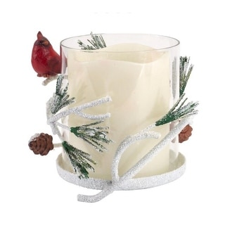"""Link to 6"""" Glass and Ceramic Cardinal Bird on Pine Branch Christmas Pillar Candle Holder Similar Items in Decorative Accessories"""